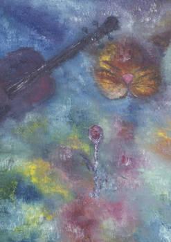 gatto violino e rosa