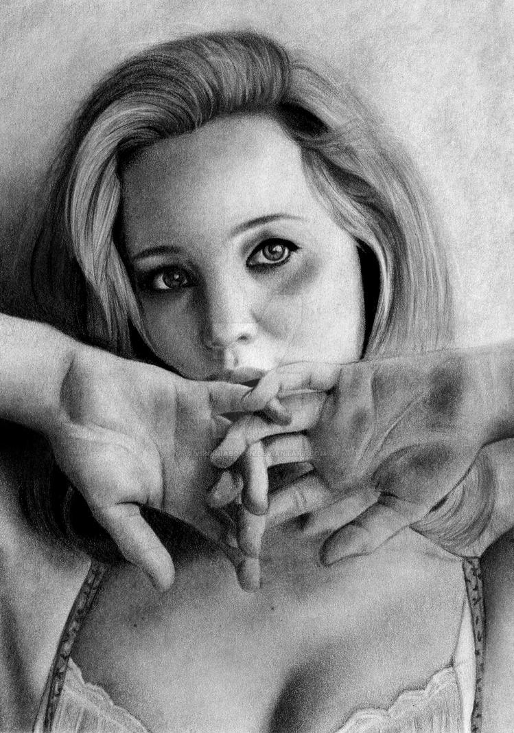Jennifer Lawrence (close-up) by VirginiaBovyn