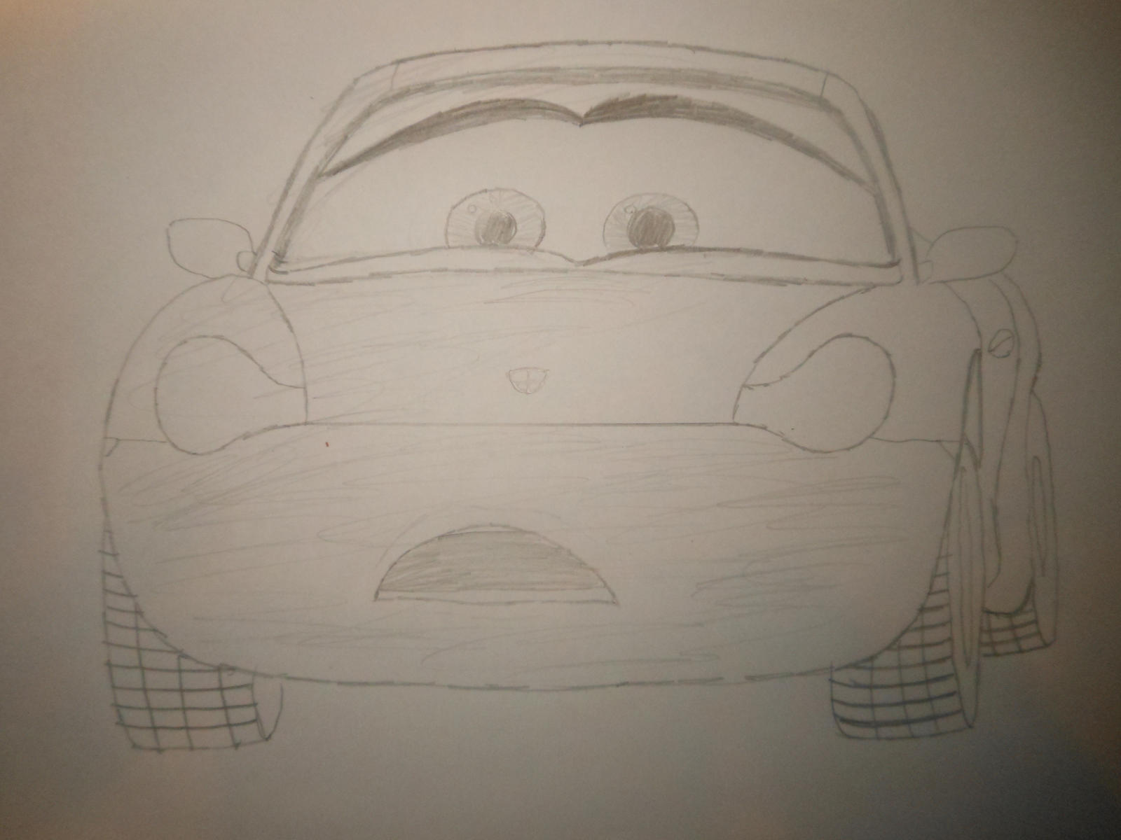 Cars 3 draw Sally watches Lightning Mcqueen crash by sgtjack2016