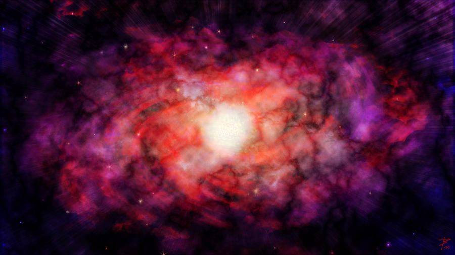 purple orange space galaxy painting - photo #9