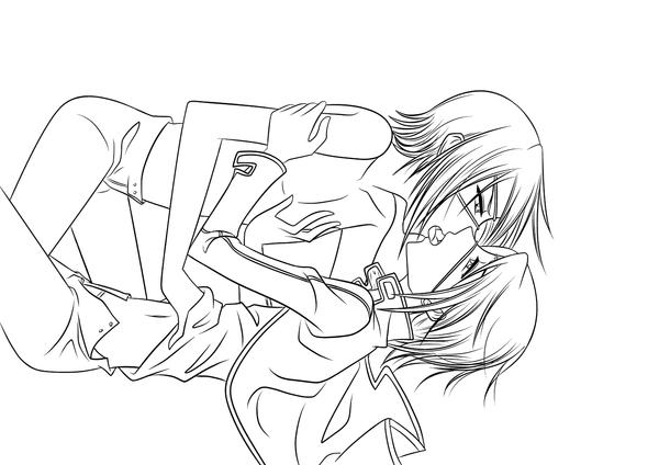 anime couples coloring pages | Anime Neko Couple Coloring Pages Sketch Coloring Page