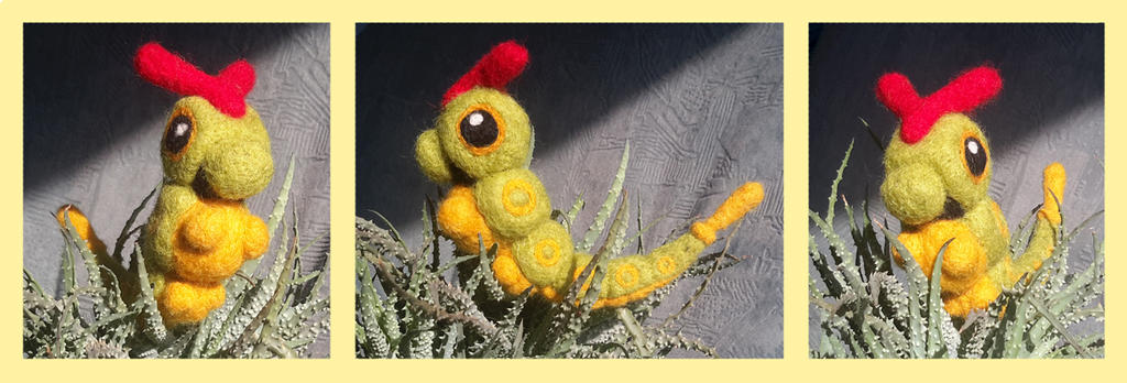 Needle Felted Caterpie by Kampfkewob