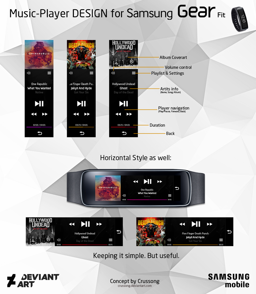 Samsung Gear Fit - Music-Player DESIGN by Crussong
