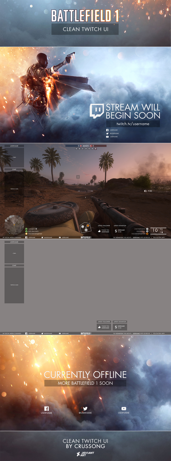 Battlefield 1 Clean Twitch UI (Overlay + Screens) by Crussong