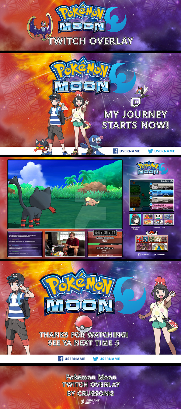 Pokemon Moon - Twitch UI (Overlay + Screens) by Crussong