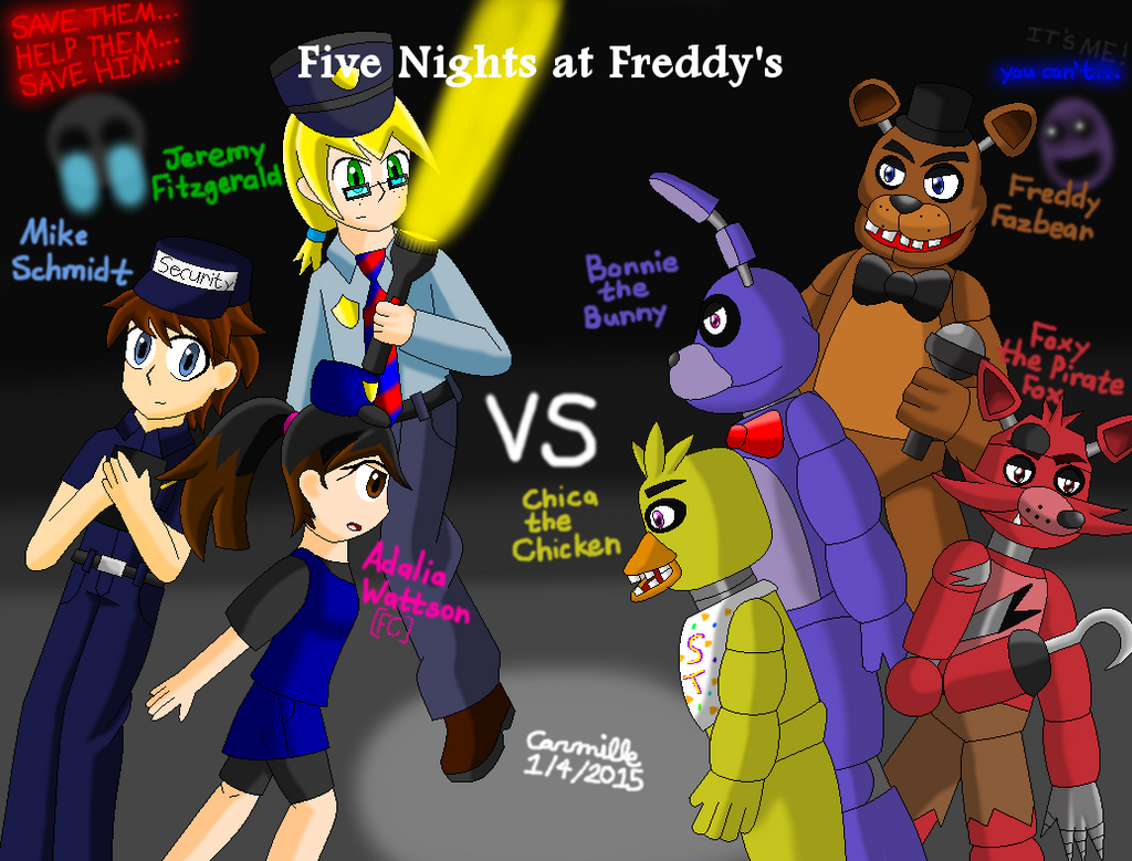 Fnaf security guards vs animatronics by sapphiregemnetwork on