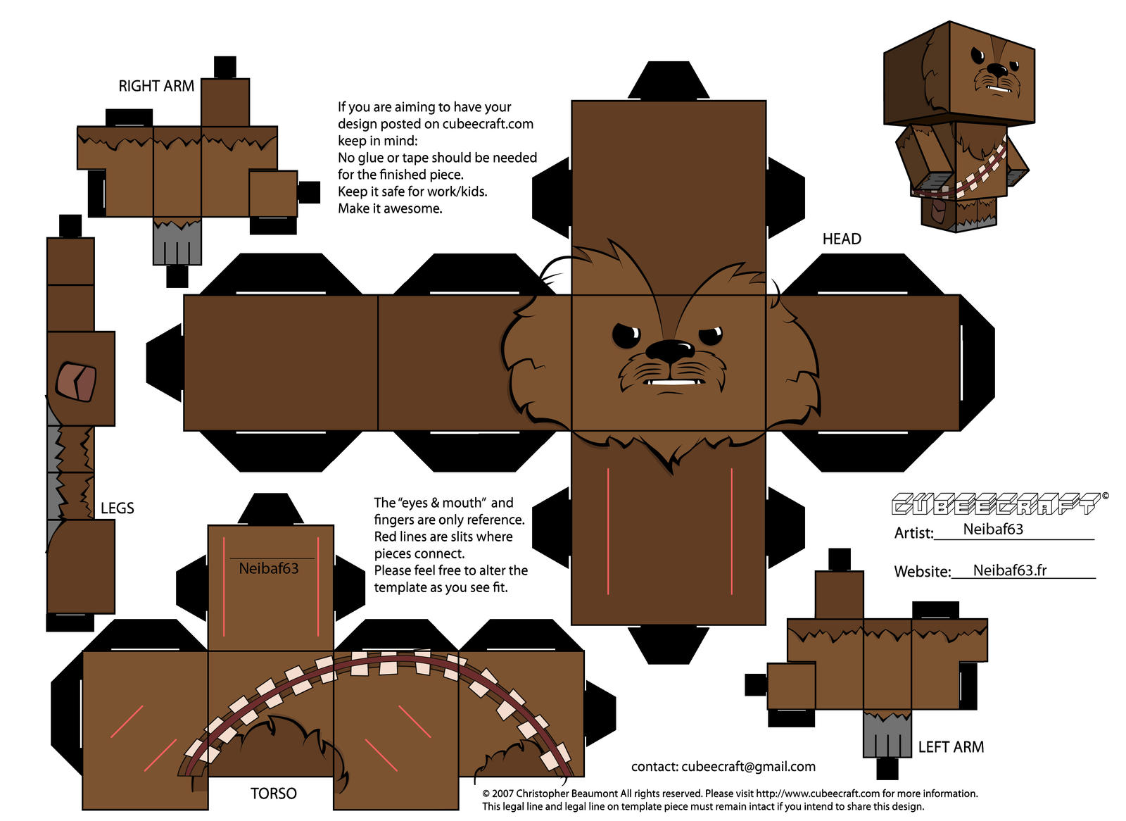 chewbacca template cubeecraft by neibaf63 on deviantart. Black Bedroom Furniture Sets. Home Design Ideas