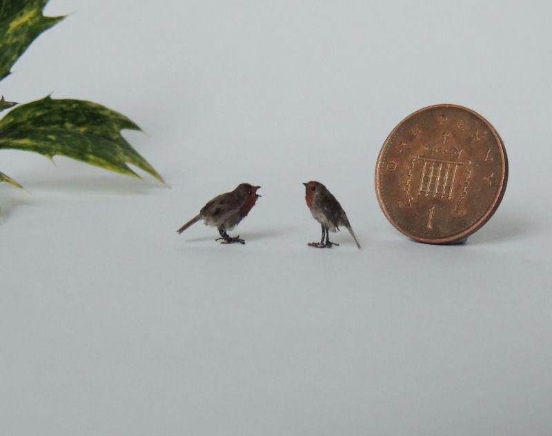 1:12th scale Eurasian Robins by AnyaStone