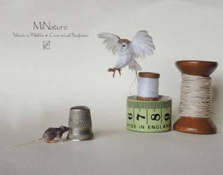 Miniature Barn Owl and Rat by AnyaStone