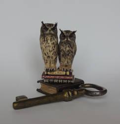 Miniature Eagle owls by AnyaStone