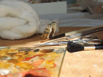 Barn Owls by AnyaStone