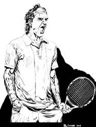 Roger Federer BW Line Art #2 by bjsnider