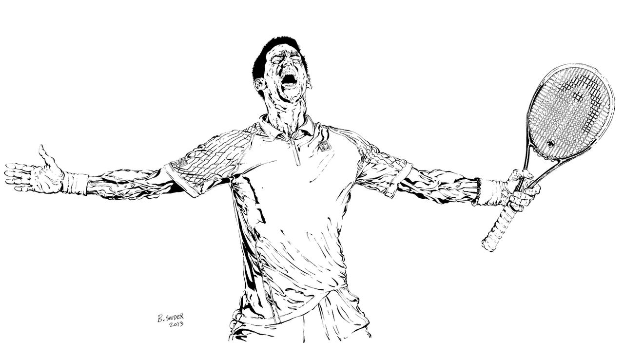 novak djokovic crucifixion pose grayscale line art by bjsnider