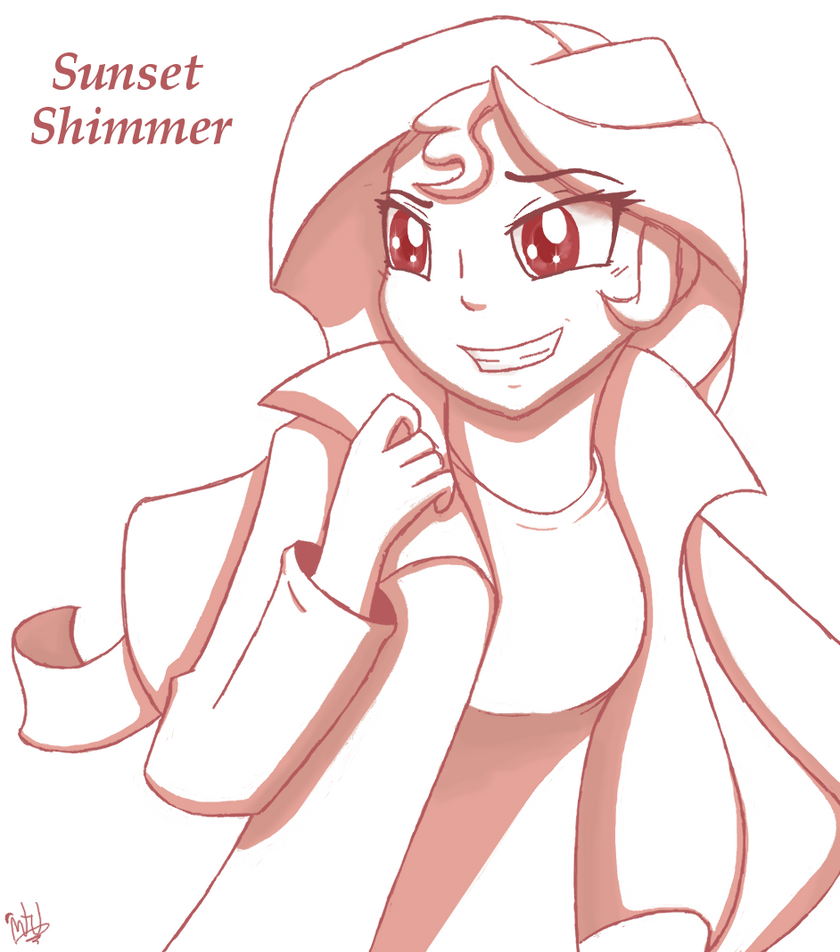 Sunset Shimmer Sketch Practice Thing by MidnightTheUmbreon
