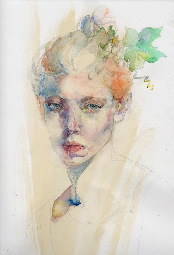 watercolor portrait by Konnova