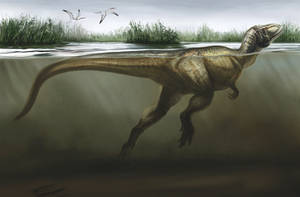 Swimming Theropod by cheungchungtat
