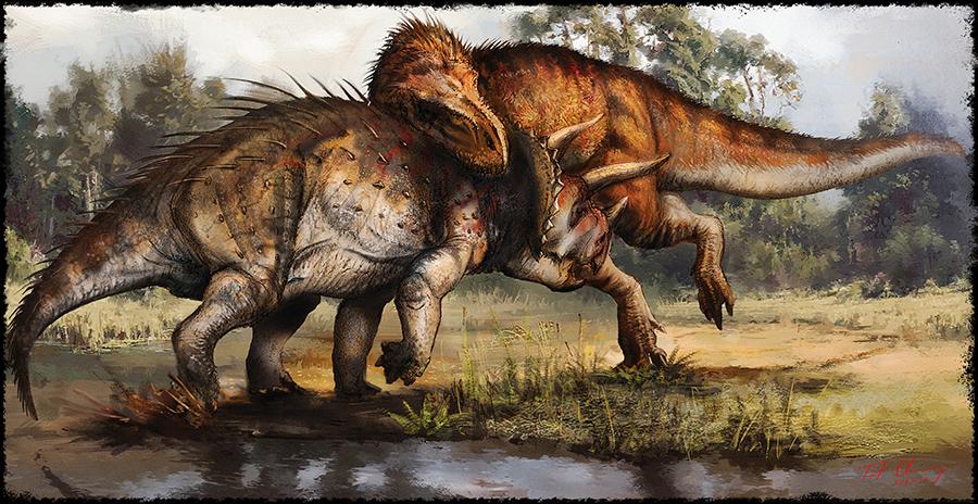 Tyrannosaurus vs Triceratops by cheungchungtatT Rex Vs Triceratops Fighting