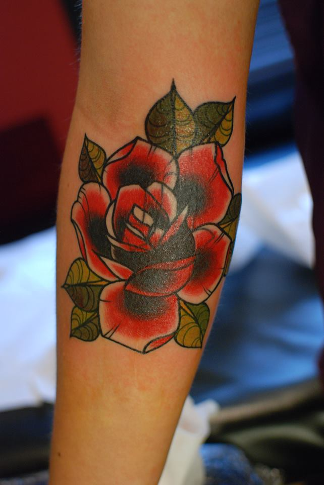 Neo traditional rose cover up by alex tattoo by ...