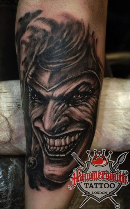 Ivan bor joker black and grey tattoo by hammersmithtattoo for Black and grey tattoo artists