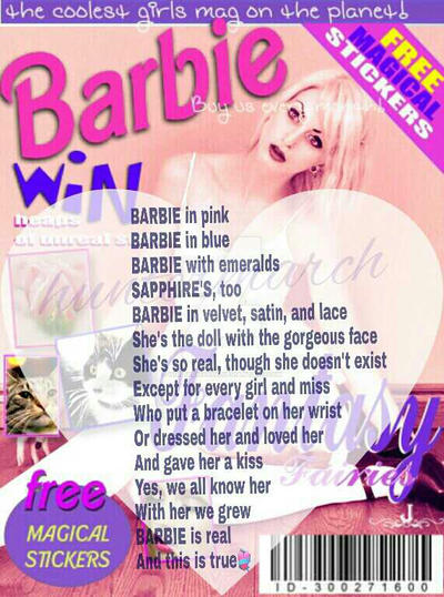 analysis on poem barbie doll Essay about analysis of the poem barbie doll beautiful, flawless dolls such as barbie are frequently the first source of association that little girls have with the values placed on them by society [tags: barbie doll essays] 868 words.