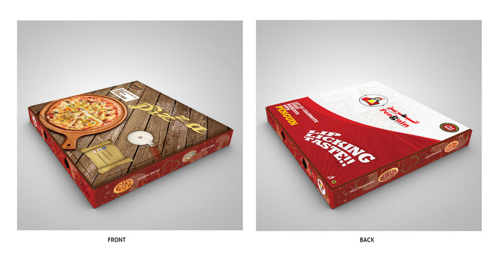 Penguin fried chicken pizza box design by nabeelIbnHassan on ...