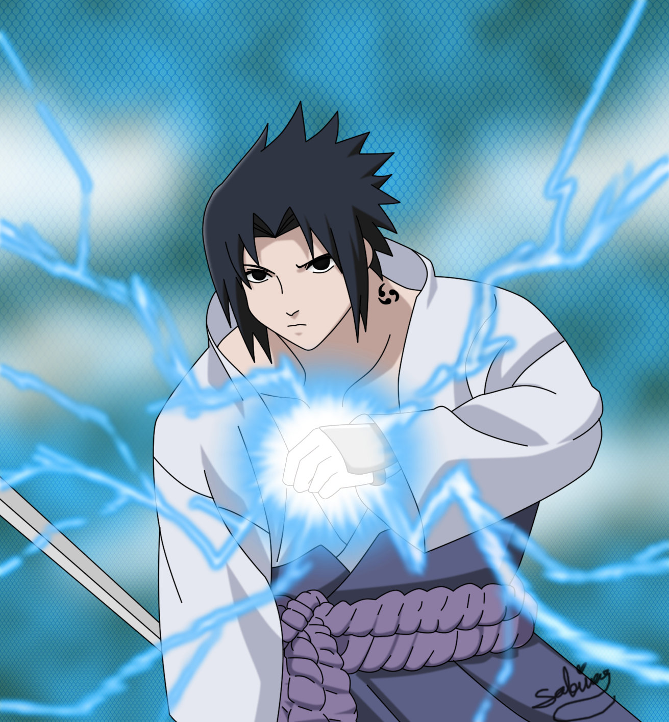 Uchiha Sasuke with Chidori by Garnboll on DeviantArt