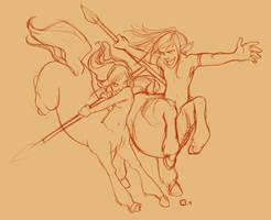 Fighting Centaurs by StressedJenny