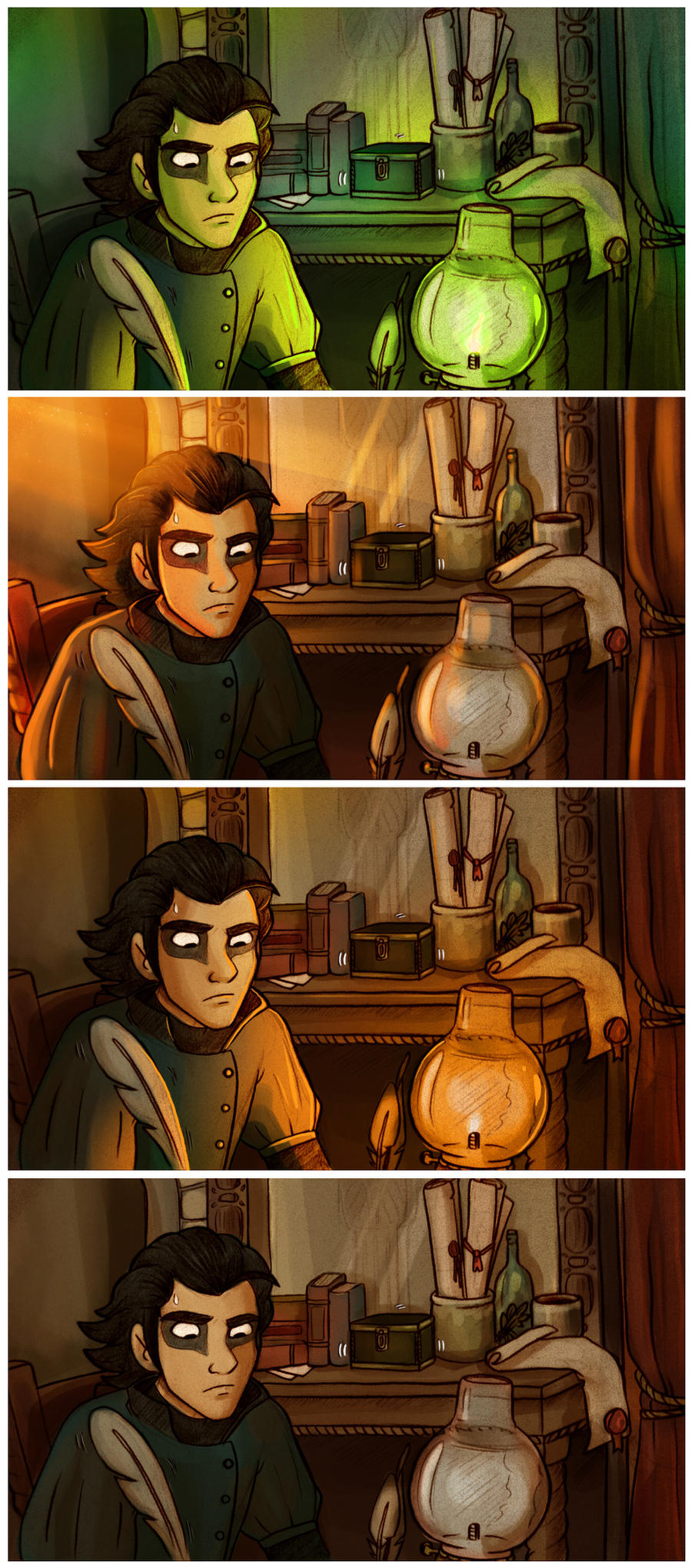 Mias in his study: Light studies by StressedJenny