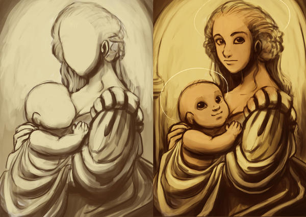 Madonna and child WIP by StressedJenny