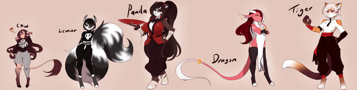 Adoptable Designs: Casual + Kungfu Gals by neon-drane