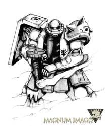 Zaku-II Illustration (Realism/Pointillism) by MagnumImago
