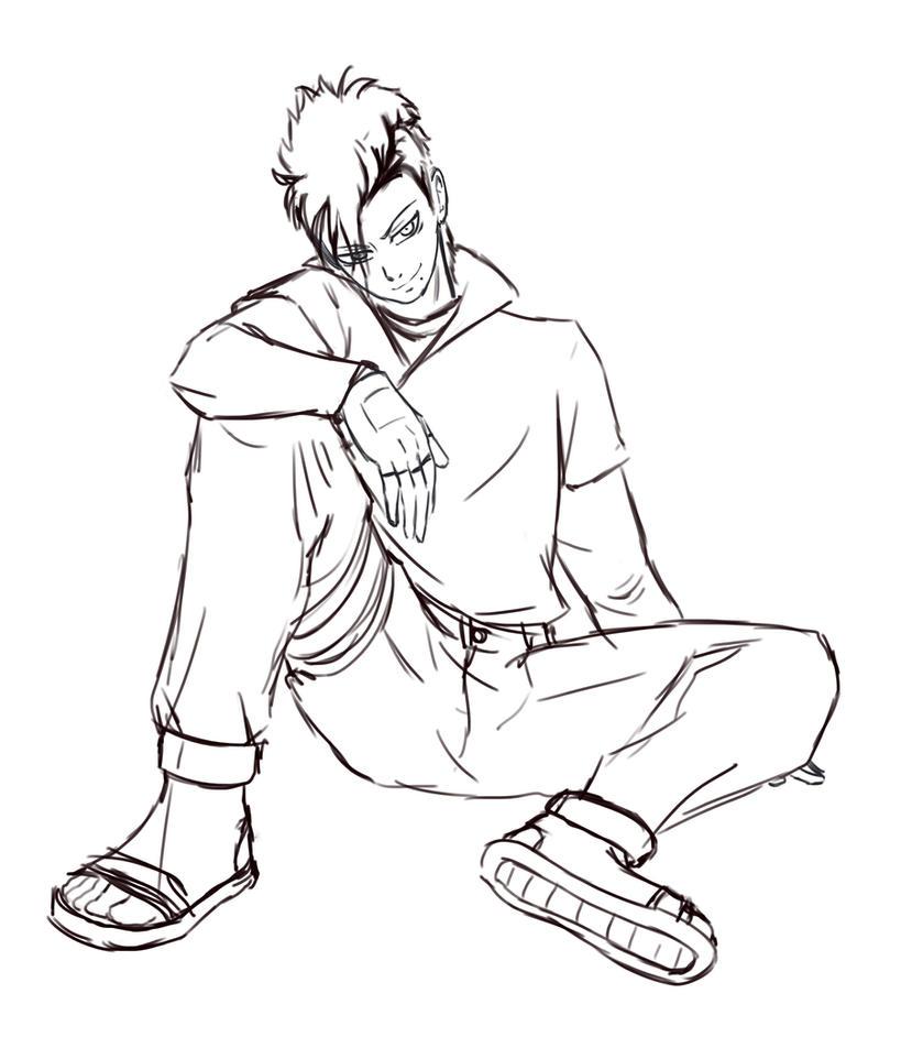 Naruto OC- Ryouma sketch by itsnattie