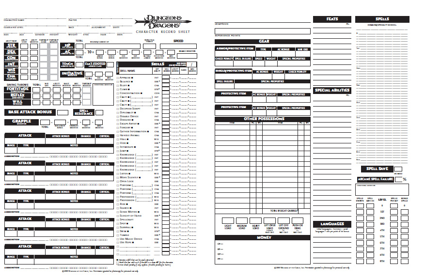 dungeons and dra...D D 5e Character Sheet