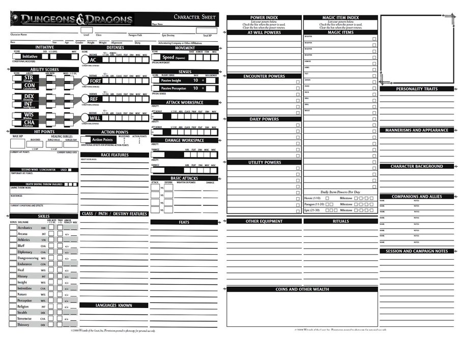 Dungeons And Dragons Charecter Sheet by novadragon1000 on DeviantArt