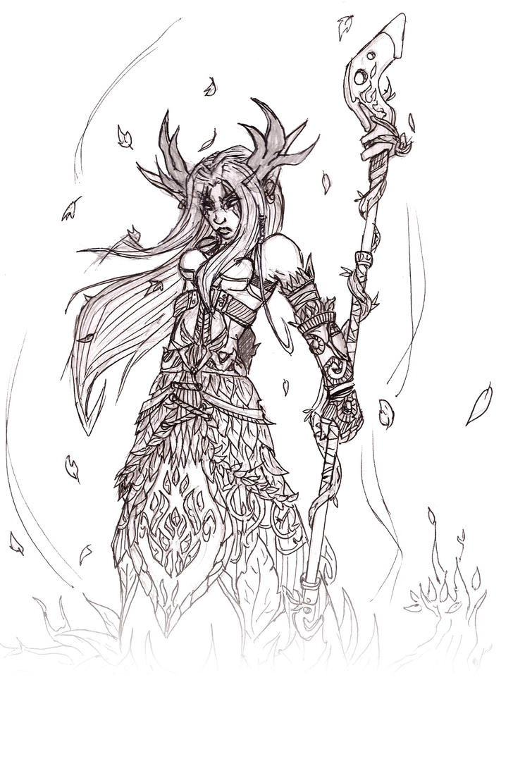 D Line Drawings Quest : World of warcraft night elf druid by ajsandland on