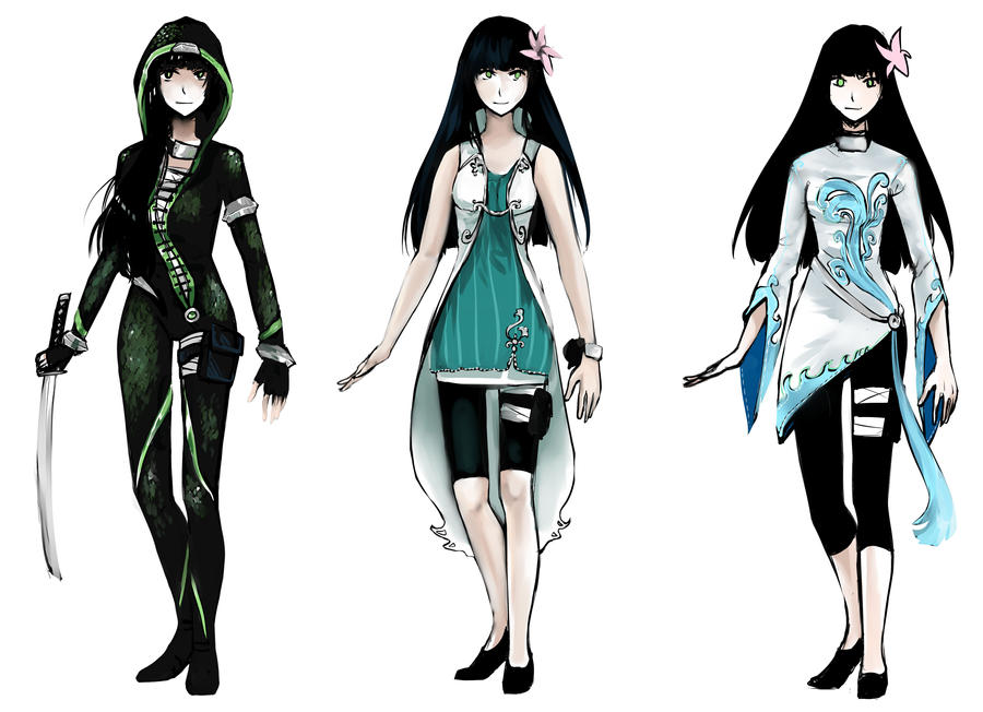 Anime Female Character Design : Commission outfit designs for yuzuki by gehirnkaefer on