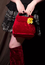 Velvet red clutch bag by Kitsch-Craft
