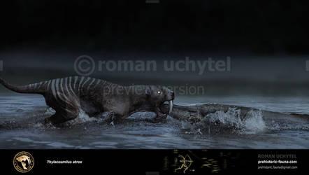 A thylacosmilus atrox doing some night fishing