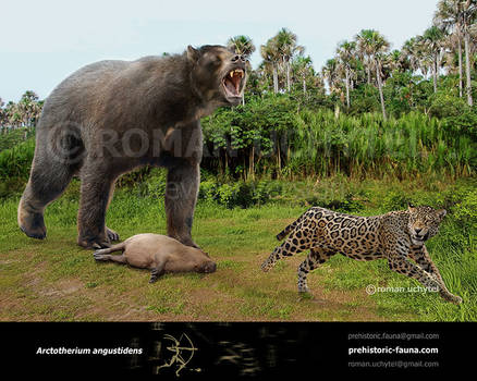 Arctotherium angustidens and Panthera onca