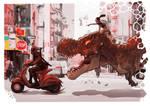 Deadpool Vs. Devil Dinosaur and Moon Girl colored