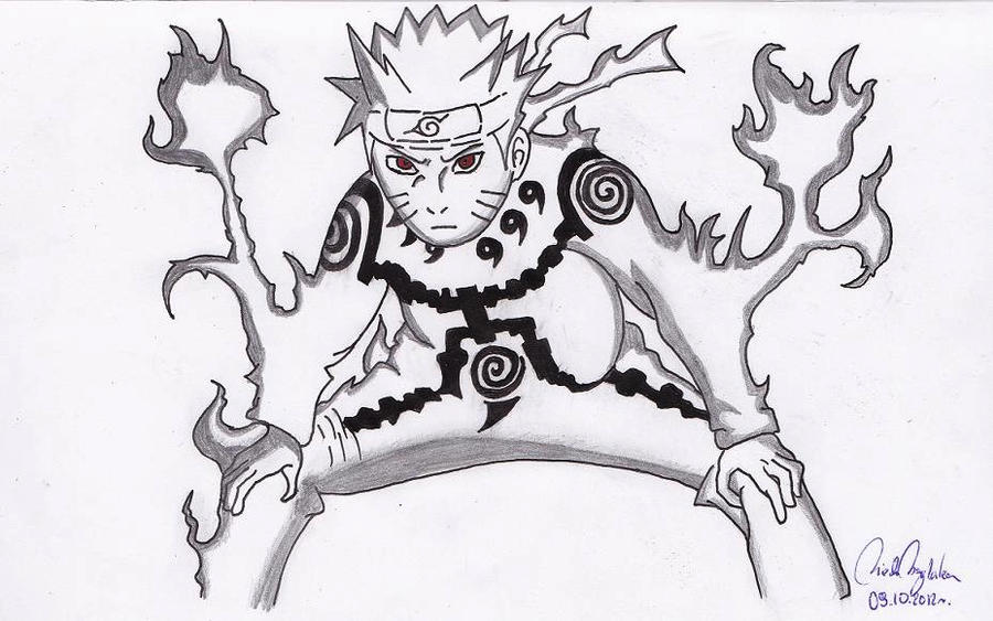 Naruto Kyuubi Mode Drawing