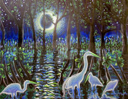 Egrets With Moon
