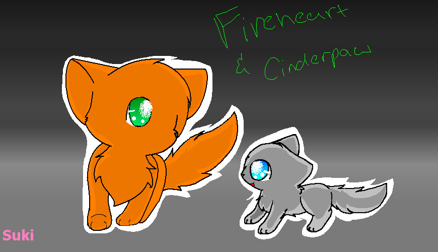 Fireheart and Cinderpaw -Art Trade- by Kurai-PhantomFireheart And Cinderpaw