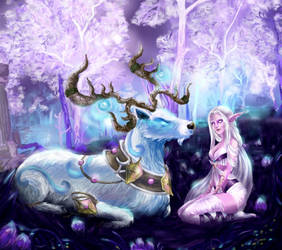 Night elf and a deer by Larinor
