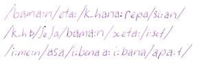 Conlang Script sample phonemes
