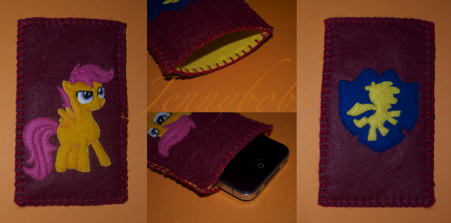 MLP Scootaloo felt phone case by Blindfaith-boo