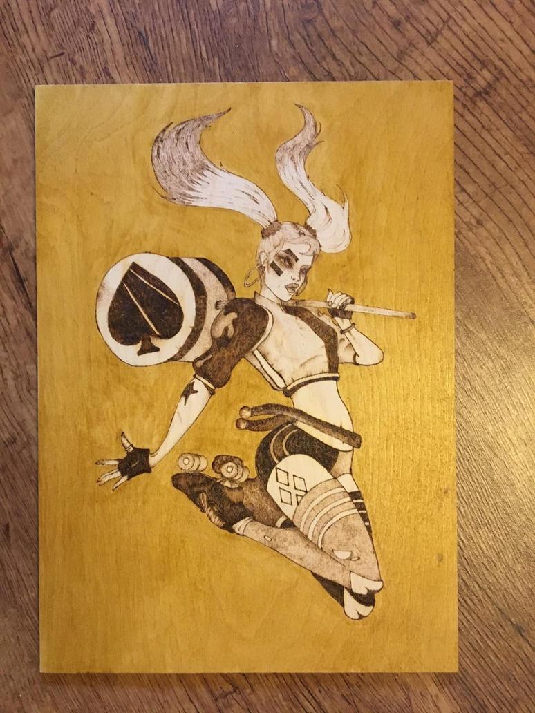 Harley Quinn pyrography  by Blindfaith-boo