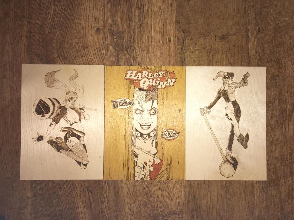Harley Quinn pyrography x3 by Blindfaith-boo