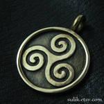 Bronze Triskelion pendant