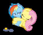 Fluttershy hugs Dashie